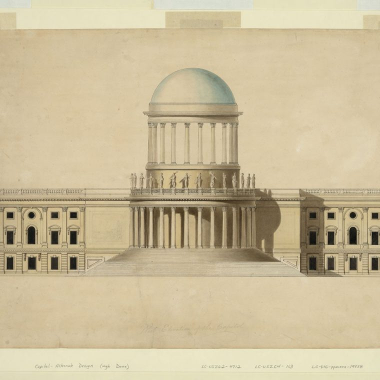 Proposed design for the US Capitol with high dome by William Thornton, c. 1797. Library of Congress, Prints and Photographs Division, LC-DIG-ppmsca-19858.
