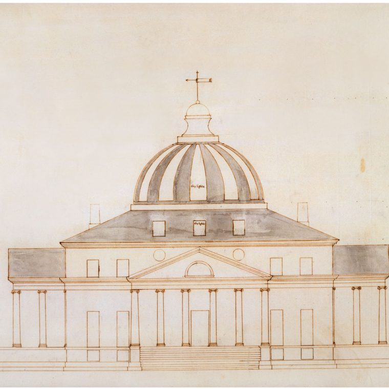 Competition entry for the President's House, by A.Z. (attributed to Thomas Jefferson), 1792. Strong historical evidence indicates that this design, submitted under the initials A.Z., was actually by Thomas Jefferson. Courtesy of the Maryland Historical Society, 1976.88.6.
