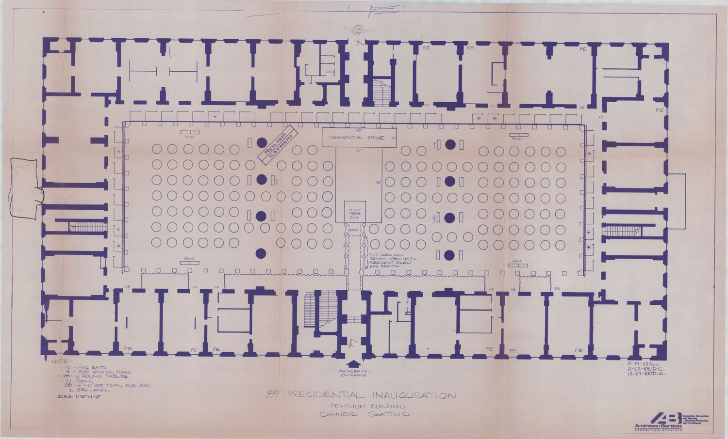 Pension building collection at the national building museum blueprint of presidential inauguration dinner seating and staging plan president george bush 1989 national building museum collection malvernweather Gallery