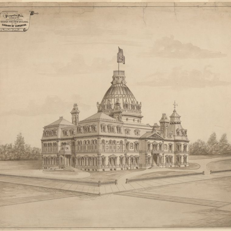 Competition entry for the Library of Congress by Leon Beaver, 1873. Library of Congress, Prints and Photographs Division, LC-DIG-ppmsca-31512.