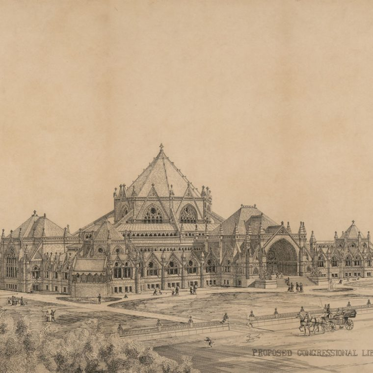 Competition entry for the Library of Congress by Alexander R. Esty, c. 1880. This proposal for the Library of Congress was an unusual application of the Gothic Revival style. Library of Congress, Prints & Photographs Division, LC-DIG-ppmsca-31519.