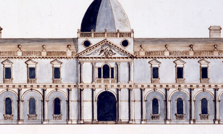 "Main elevation of Capitol competition entry by James Diamond, 1792. Many entries to the design competition for the ""Congress House"" were by amateurs, including this one notable for its crudely drawn weathercock. Courtesy of the Maryland Historical Society, 1976.88.51"