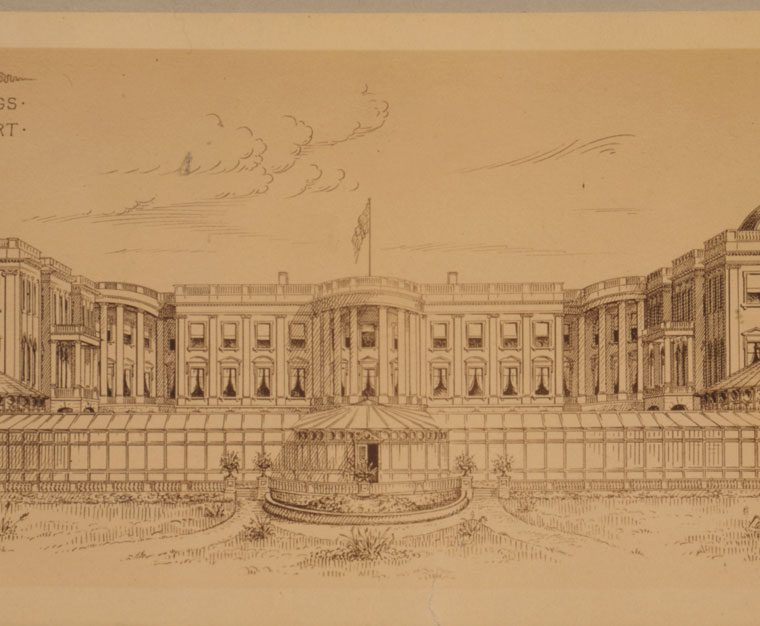 Proposed Extensions to the White House (Executive Mansion) by Robert Owen, 1891-1901. This was one of several proposals in the late 19th century for expanding or relocating the Executive Mansion to provide more space for a growing government. Owen proposed creating two approximate replicas of the original building, rotated 90 degrees in plan and placed to either side, forming an open court with a greenhouse at the south end. Library of Congress, Prints & Photographs Division, LC-USZC4-7736.