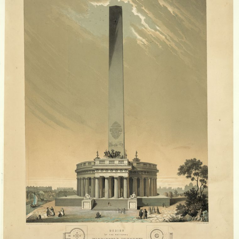 Winning Competition Entry for the Washington Monument by Robert Mills, 1846. Mills's original proposal called for an obelisk anchored by a circular, Greek-inspired temple at the base. The base was never executed, and the proportions of the obelisk itself were changed when the structure was finally completed nearly four decades after this drawing was produced. Library of Congress, Prints & Photographs Division, LC-DIG-pga-03714.