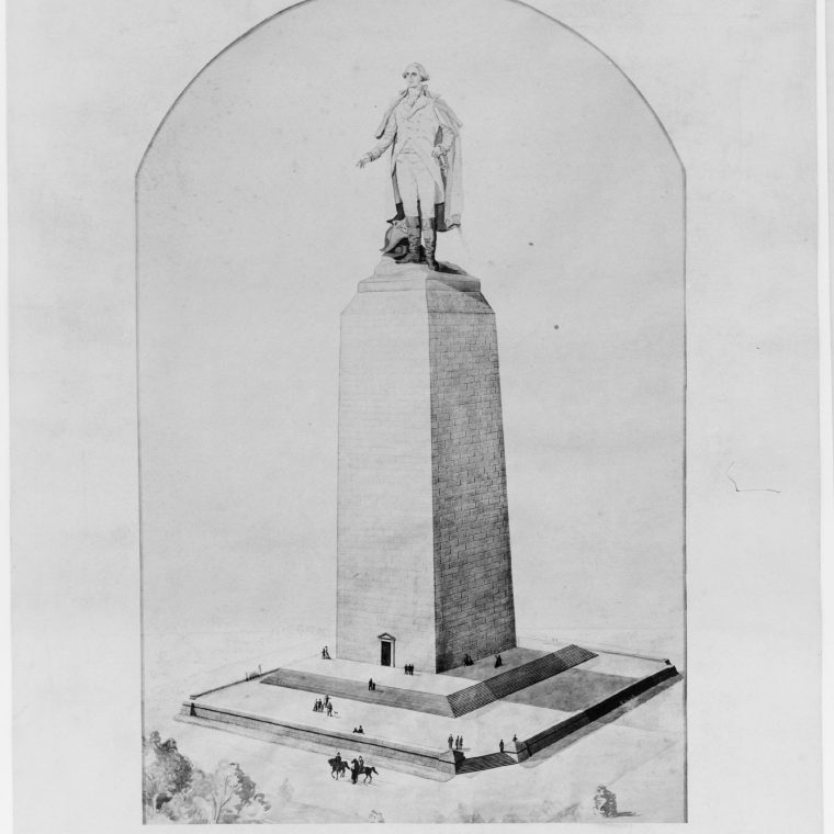 Proposal for the completion of the Washington Monument by Vinnie Ream Hoxie, c. 1876-78. Construction of the Washington Monument began in 1848 but was halted in 1856, leaving an unfinished stump on the National Mall for more than two decades. In the 1870s, various architects and others proposed ideas for finishing the monument, often in unexpected ways. Library of Congress, Prints & Photographs Division, LC-USZ62-113998.