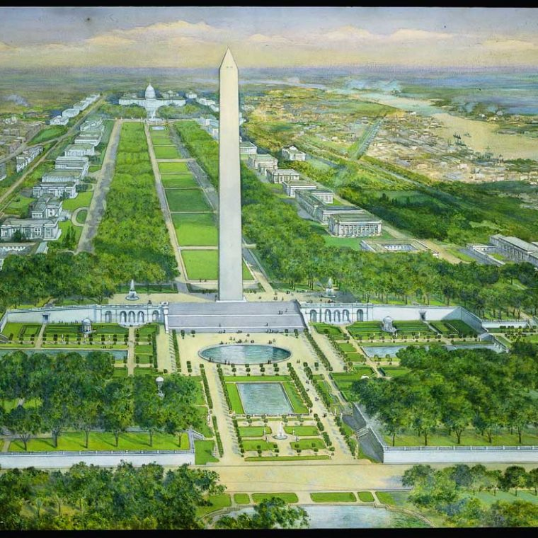 Rendering of the Proposal for the Washington Monument grounds, by the Senate Park Commission, 1901-02. The wide steps, the circular pool, and the terraced gardens were all intended to provide a more dignified base for the monument, while resolving the awkward geometry resulting from its placement off the axis from the White House. Courtesy of the U.S. Commission of Fine Arts