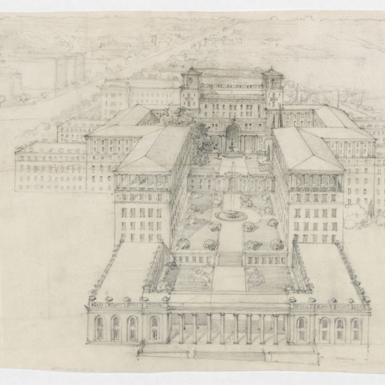 Proposed Masonic Temple Complex by Waddy B. Wood, 1922-24. The site of this proposed complex was where the Washington Hilton stands today. Library of Congress, Prints and Photographs Division, LC-DIG-ppmsca-31431.