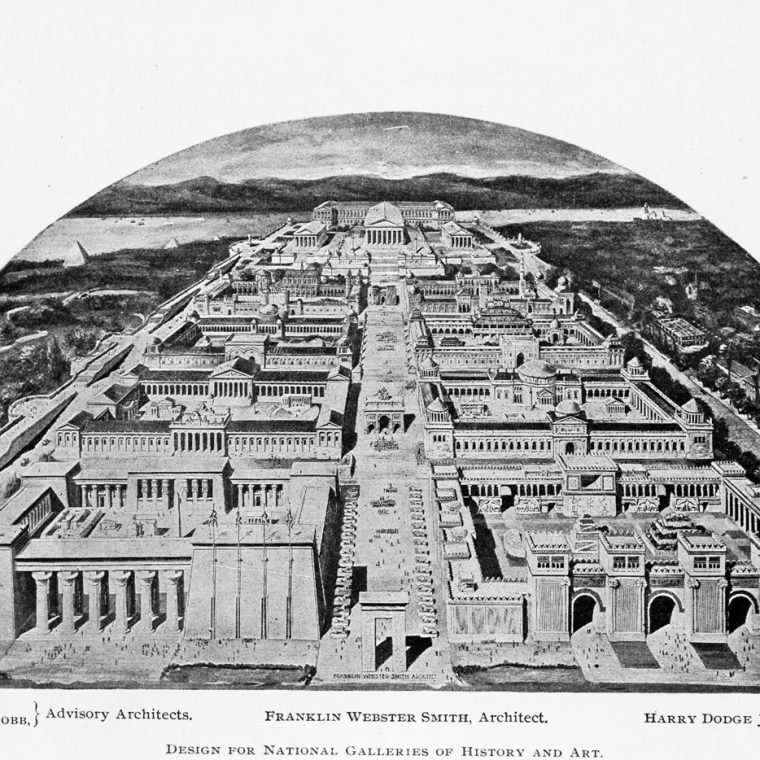 Design for National Galleries of History and Art by Franklin Webster Smith, 1900. The project would have stretched from 17th Street, near the White House, all the way to the Potomac River. National Galleries of History and Art: The Aggrandizement of Washington (F.W. Smith, 1900).