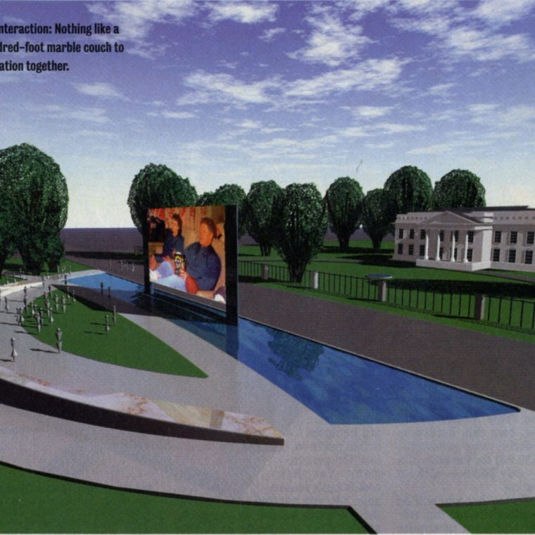 Rendering of the proposed National Sofa, to be located across Pennsylvania Avenue from the White House, by Jim Allegro, AIA, and Doug Michels, 1996. Allegro and Michels were concerned that the closure of Pennsylvania Avenue following the Oklahoma City bombing would further isolate the presidency from the people. They proposed the National Sofa as a place of virtual and physical interaction to address that gap. Copyright: James Allegro, AIA and Doug Michels.