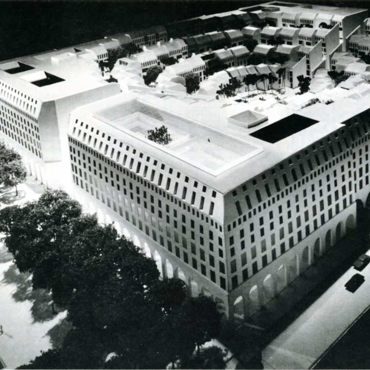 """Proposal for """"Housing on the Avenue"""" by Hugh Newell Jacobsen, 1974. This project would have been located on the current site of Market Square, along Pennsylvania Avenue, NW. The terraced design was inspired by Italian hill towns. Courtesy Jacobsen Architecture, LLC."""