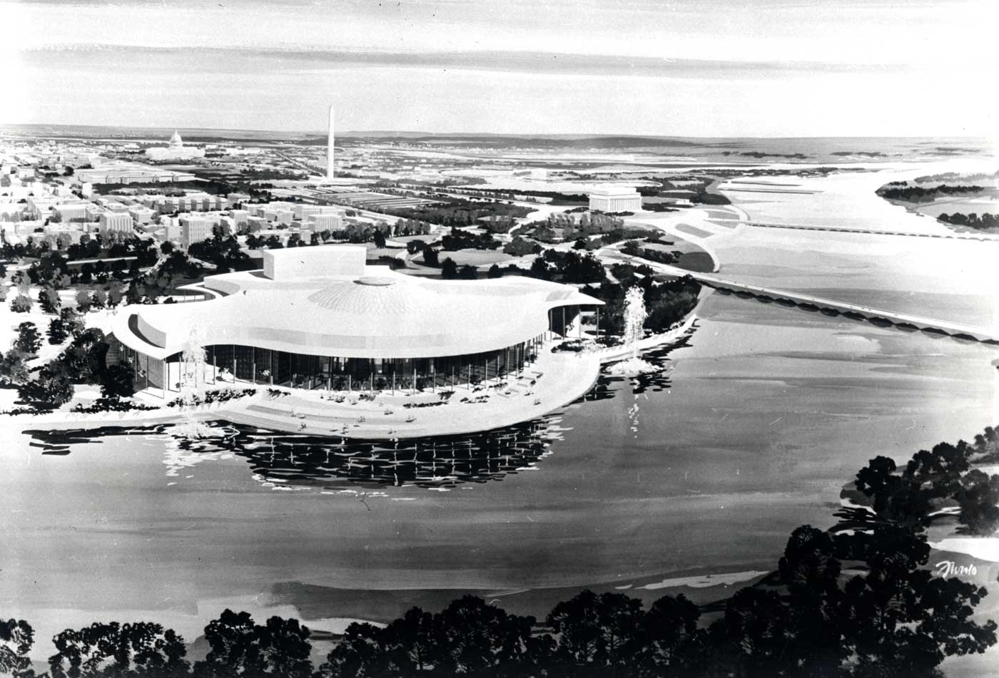 Preliminary proposal for the National Cultural Center (later Kennedy Center), Edward Durell Stone, 1959. Stone's curvilinear original design contrasts sharply with the boxy design that was executed. Edward Durell Stone Collection (MC 340), Box 104. Special Collections, University of Arkansas Libraries, Fayetteville.