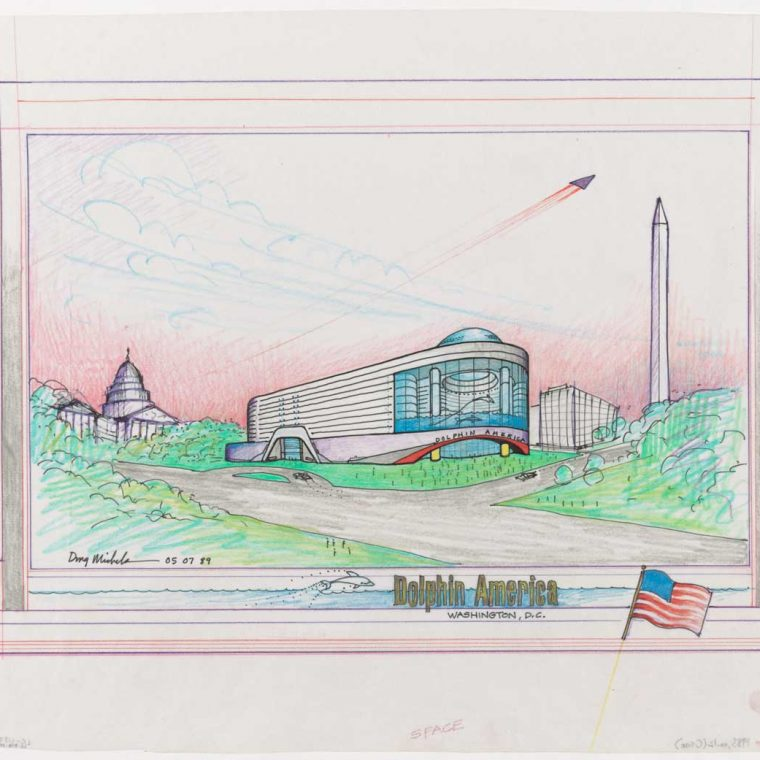 Proposed Dolphin America Hotel, designed by Doug Michels Architecture in collaboration with Jim Allegro, AIA, 1989. Architect Doug Michels was fascinated by dolphins and proposed various projects that would bring humans into closer contact with the aquatic mammals. Library of Congress, Prints & Photographs Division, LC-DIG-ppmsca-31434.