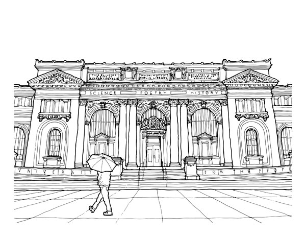Historical Society of Washington, D.C. (Carnegie Library). Drawing by Scott Clowney.