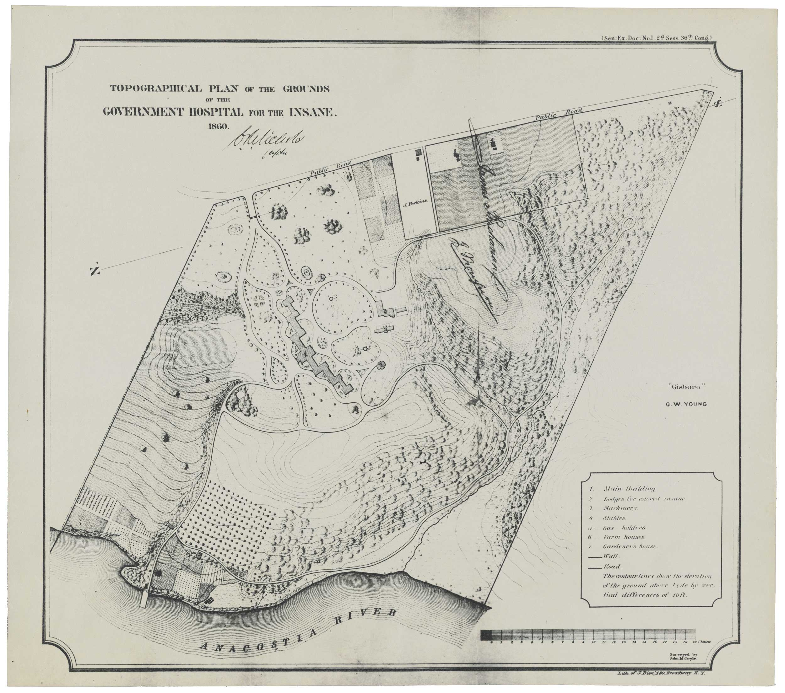 Topographical Plan of the Grounds, from the Annual Report, 1860. Courtesy Library of Congress, American Architectural Foundation Collection