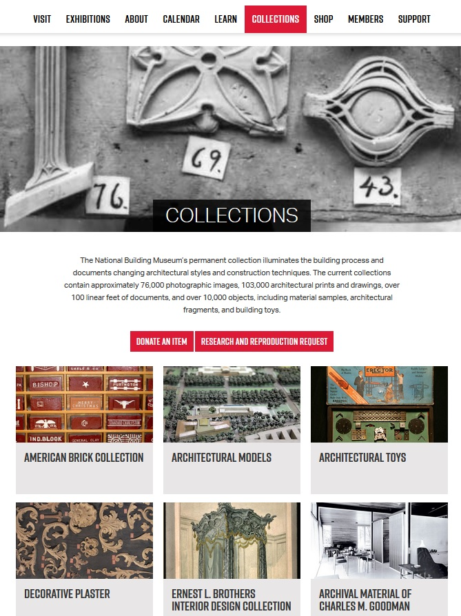 Screen image of new collections area on www.nbm.org.