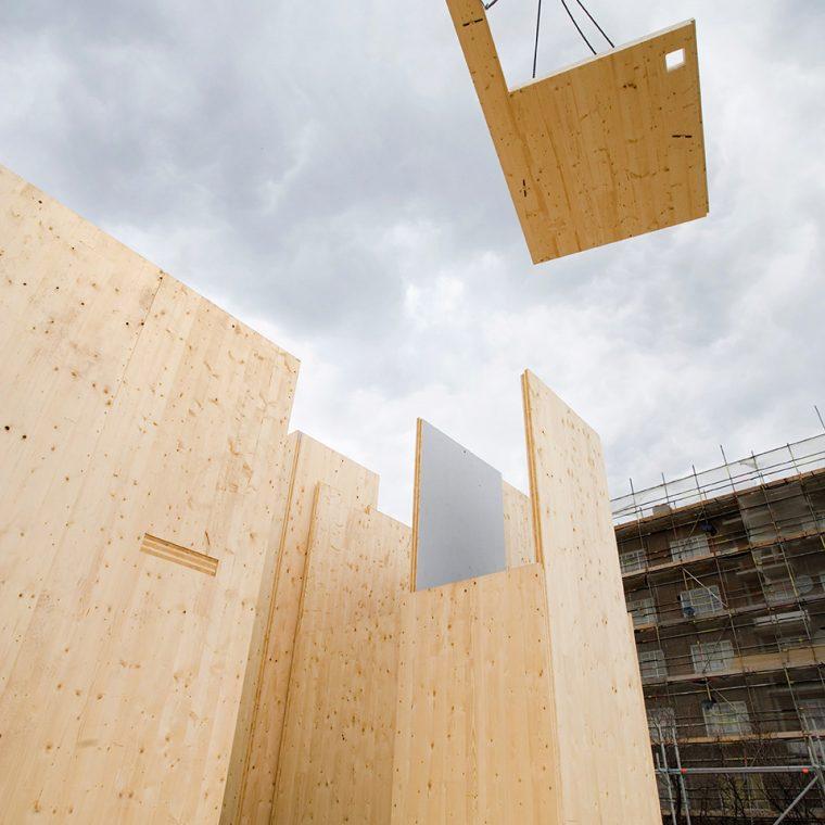 Murray Grove under construction, London, UK, 2009. Courtesy Waugh Thistleton Architects.