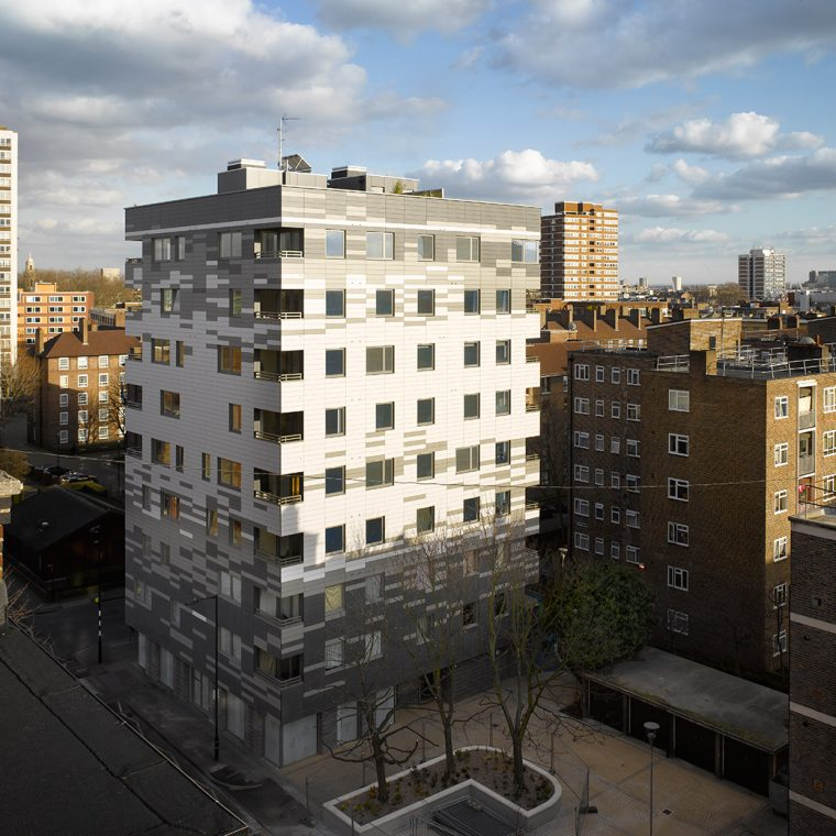 Murray Grove exterior, London, UK, 2009. Photo: Will Pryce. Courtesy Waugh Thistleton Architects.