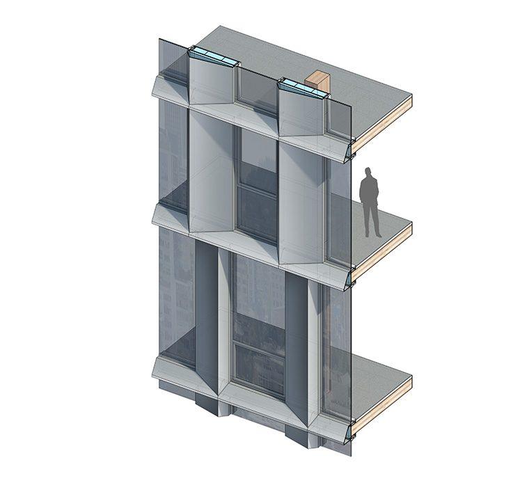 Façade detail (axonometric), Framework, Portland, OR, 2016. Courtesy LEVER Architecture.