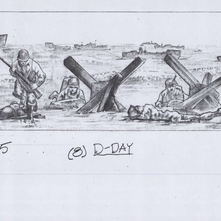 World War II Memorial, D Day preparatory drawing. Kaskey Studio.