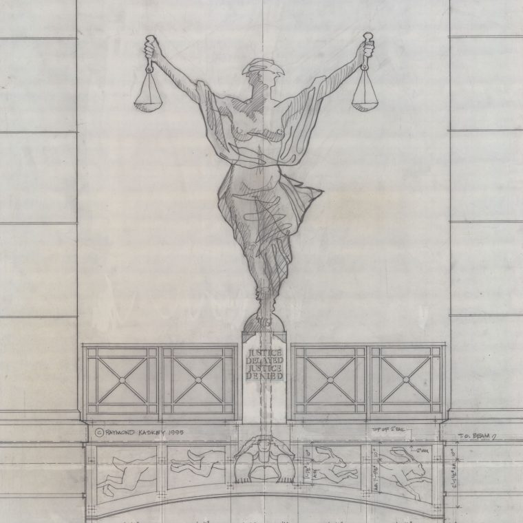 Alexandria Courthouse, Justice Delayed, Justice Denied, preparatory drawing. Kaskey Studio.