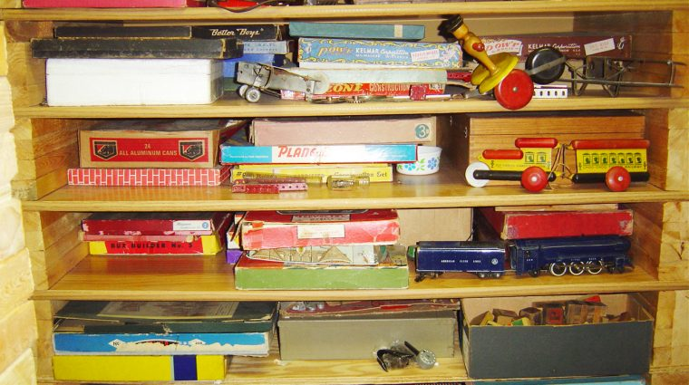 Shelving for architectural toys in George Wetzel's attic.