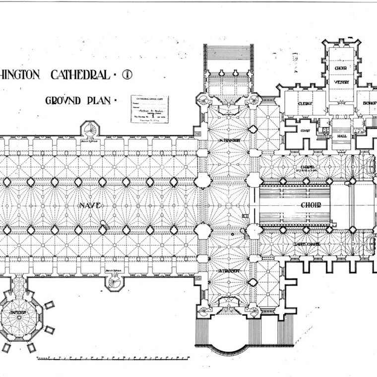 Ground Plan, Washington Cathedral, 1907. Courtesy of Washington National Cathedral Construction Archives Collection, National Building Museum Collection.