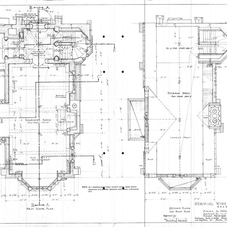 First and Second Floor Plans, Memorial Wing of Cathedral Library, 1924. Courtesy of Washington National Cathedral Construction Archives Collection, National Building Museum Collection.