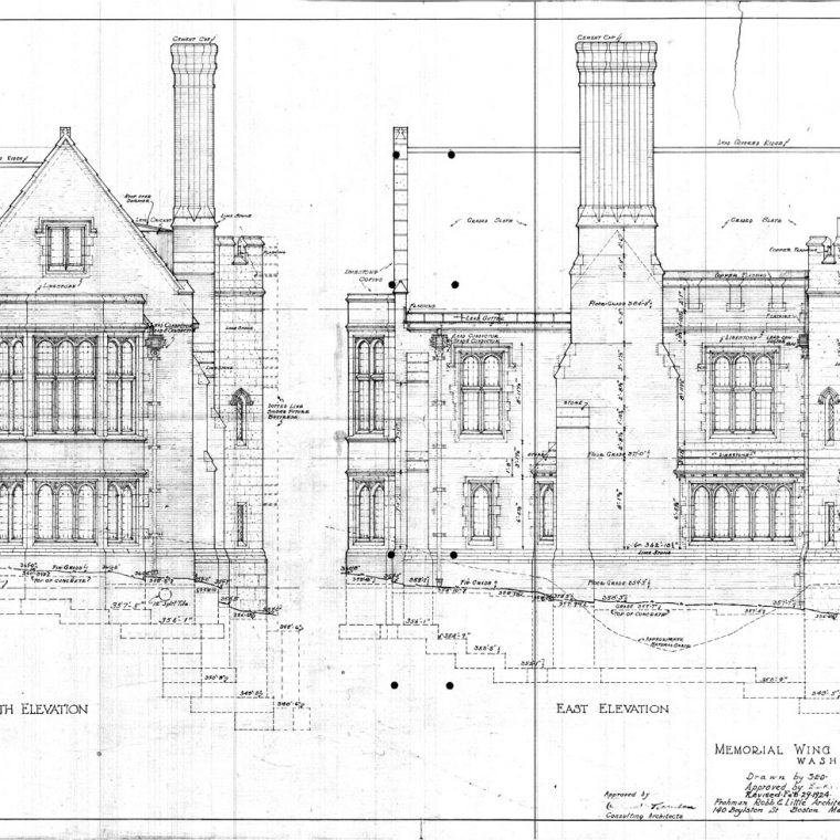 South and East Elevations, Memorial Wing of Cathedral Library, 1924. Courtesy of Washington National Cathedral Construction Archives Collection, National Building Museum Collection.