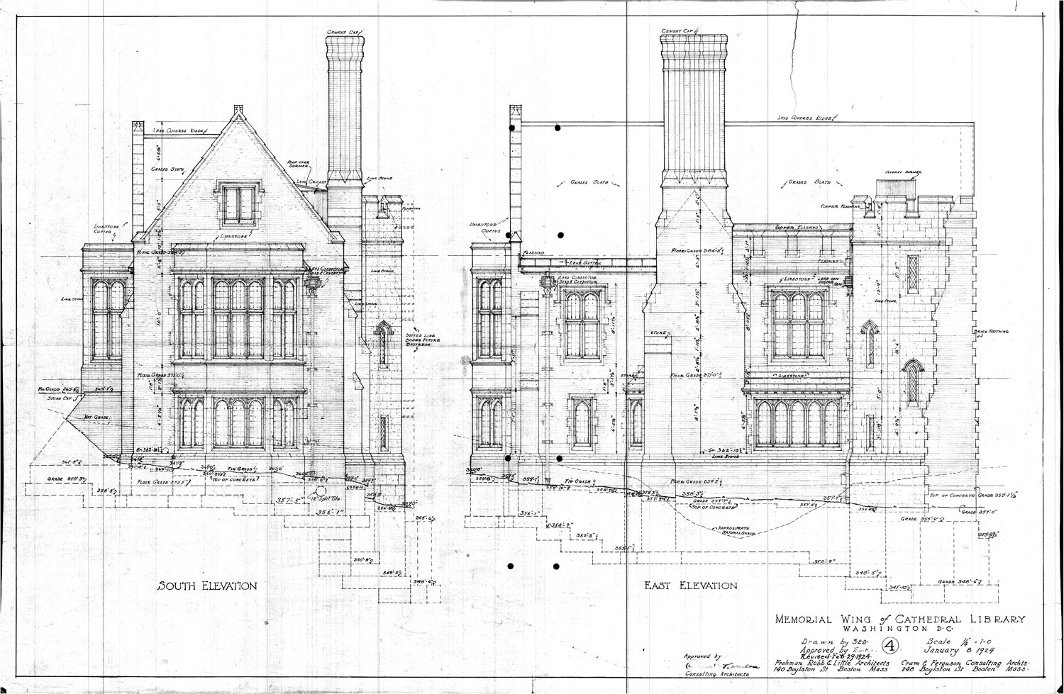 Front Elevation Of College Building : Washington national cathedral collection at the