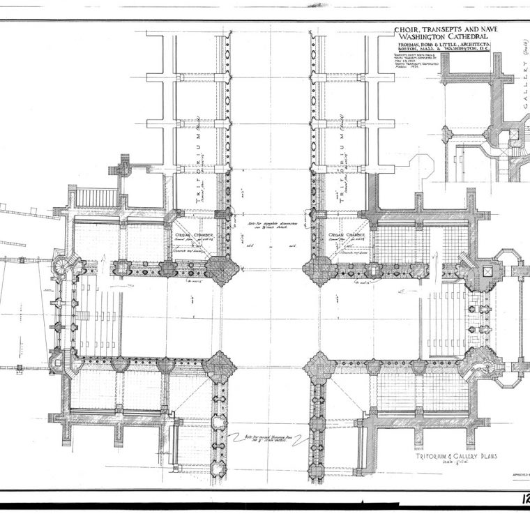 Choir, Transepts and Nave, Triforium and Gallery Plans, 1931. Courtesy of Washington National Cathedral Construction Archives Collection, National Building Museum Collection.
