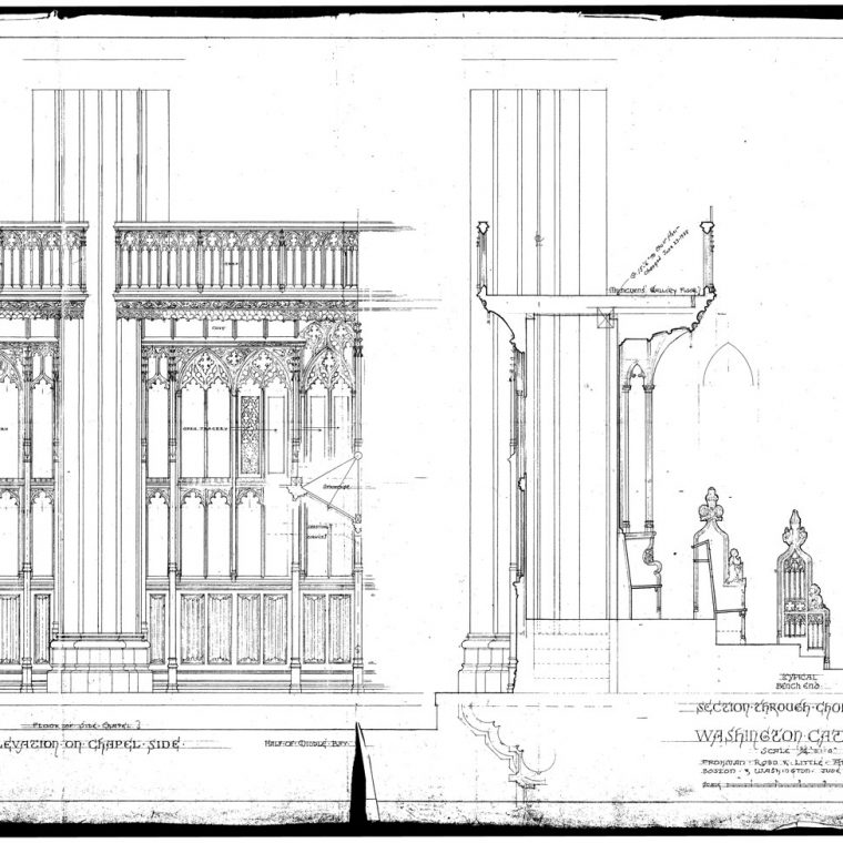 Elevation on Chapel Side and Section Through Choir Stalls, Washington Cathedral, 1937. Courtesy of Washington National Cathedral Construction Archives Collection, National Building Museum Collection.