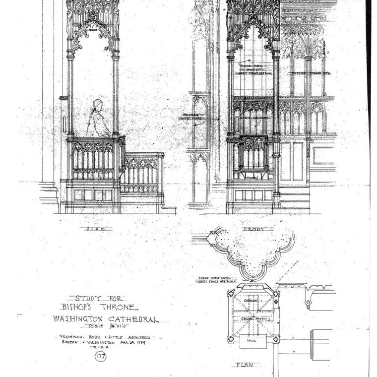 Study for Bishop's Throne, Washington Cathedral, 1939. Courtesy of Washington National Cathedral Construction Archives Collection, National Building Museum Collection.