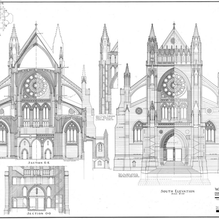 South Transept Elevation and Sections, Washington Cathedral, 1951. Courtesy of Washington National Cathedral Construction Archives Collection, National Building Museum Collection.