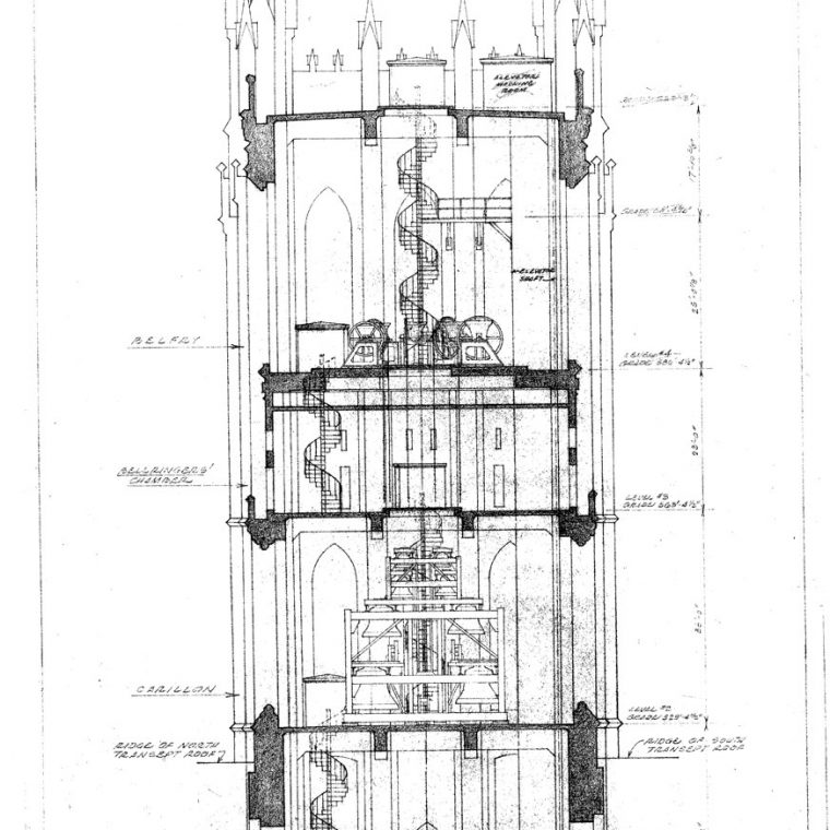 Central Tower, Washington Cathedral, Diagrammatic Section Looking East, Showing Location of Bells and Carillon, 1961. Courtesy of Washington National Cathedral Construction Archives Collection, National Building Museum Collection.