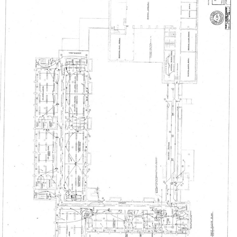 Beauvoir School Addition, First Floor Plan Electrical, 1963. Courtesy of Washington National Cathedral Construction Archives Collection, National Building Museum Collection.