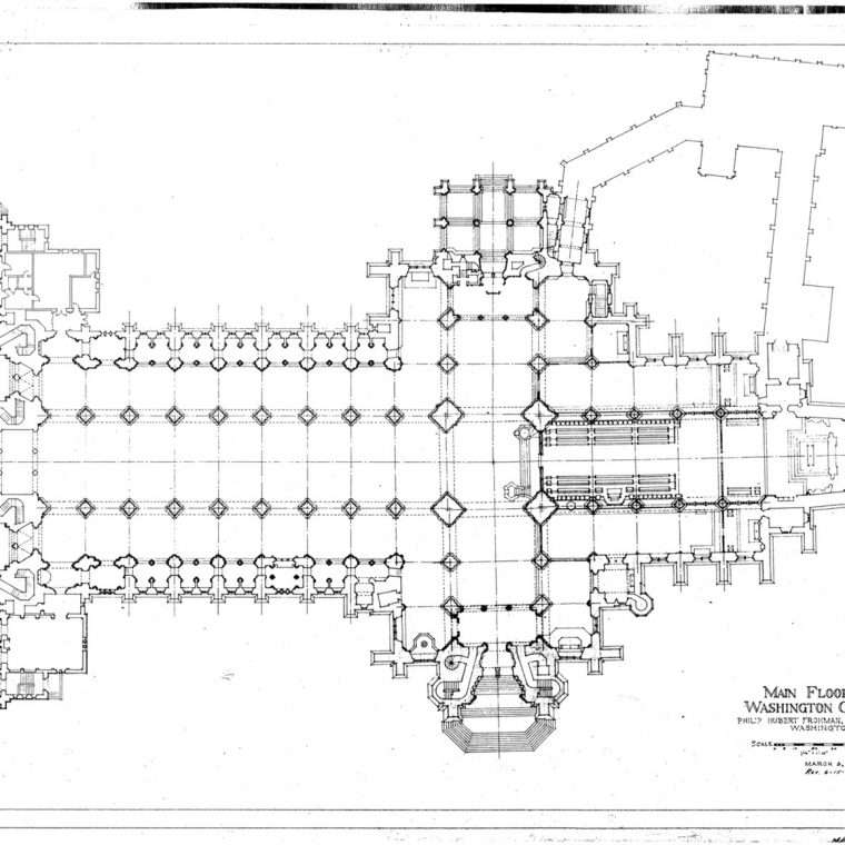 Main Floor Plan, Washington Cathedral, 1964. Courtesy of Washington National Cathedral Construction Archives Collection, National Building Museum Collection.