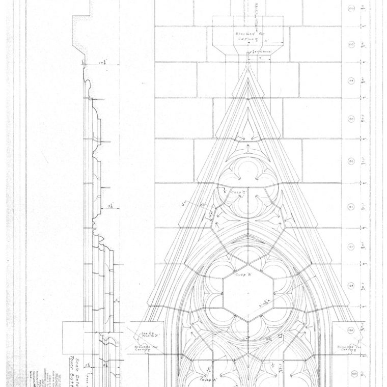 Scale Details of Gablets for Tower Buttresses, West Front and Towers, Washington Cathedral, 1973. Courtesy of Washington National Cathedral Construction Archives Collection, National Building Museum Collection.