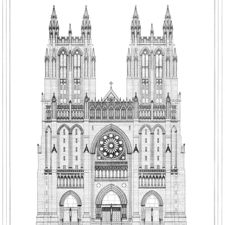 West Front and Towers, Washington Cathedral, 1974. Courtesy of Washington National Cathedral Construction Archives Collection, National Building Museum Collection.
