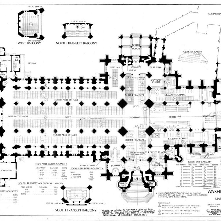 Washington Cathedral, Main Floor Seating Plan, 1993. Courtesy of Washington National Cathedral Construction Archives Collection, National Building Museum Collection.