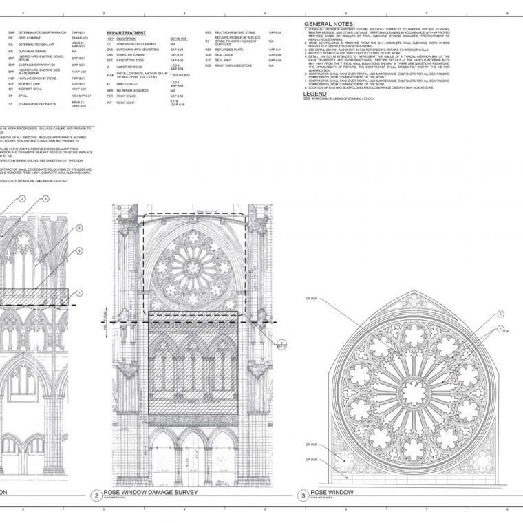 Washington National Cathedral Earthquake Repairs, Phase I: Apse East End and Interior Restoration, 2013. Courtesy of Washington National Cathedral Construction Archives Collection, National Building Museum Collection.
