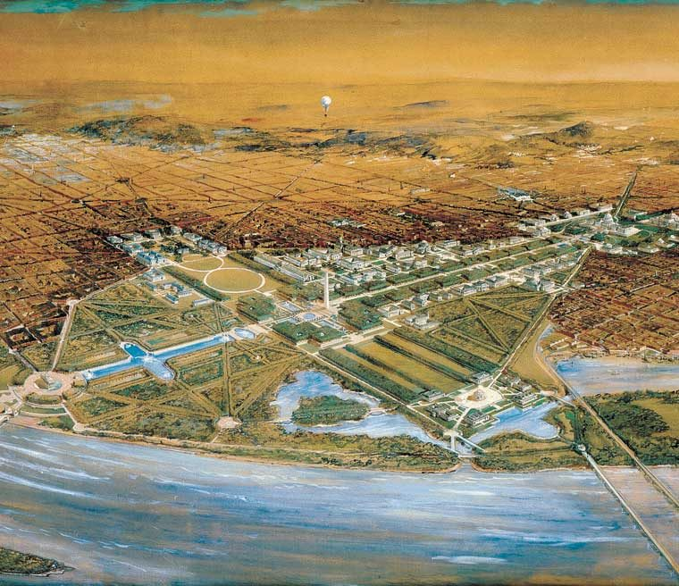 Bird's eye view of the Senate Park Commission central plan of 1901–1902, from a point 4,000 feet above Arlington, rendering by F. L. V. Hoppin. Courtesy U.S. Commission of Fine Arts.