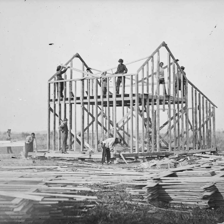 Balloon frame house under construction, Omaha Reservation, Nebraska, 1877. Photo by William Henry Jackson; The National Anthropological Archives, Smithsonian Institution.