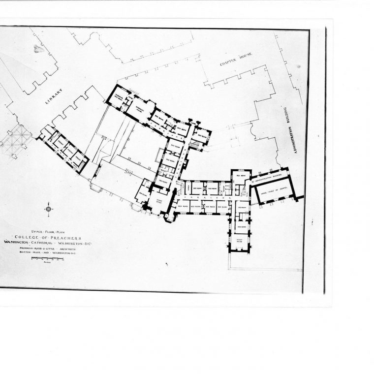 Upper Floor Plan, College of Preachers, Washington Cathedral. Courtesy of Washington National Cathedral Construction Archives Collection, National Building Museum Collection.
