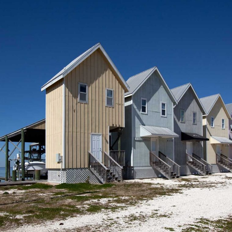 Fishing houses, Dauphin Island, Alabama, 2010. Built: ca 2000. Photo by Carol M. Highsmith; The George F. Landegger Collection of Alabama Photographs in Carol M. Highsmith's America, Library of Congress.
