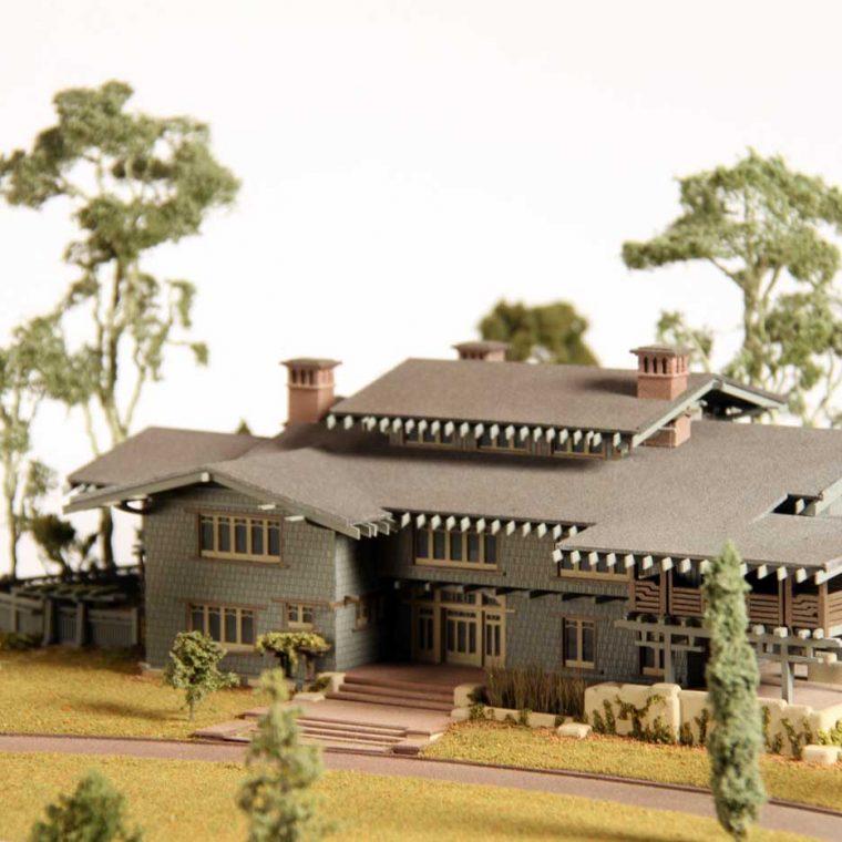 Gamble House, Pasadena, California. Architect: Greene & Greene. Built: 1908. Model by Studios Eichbaum + Arnold, 2010. Photo by Museum staff.