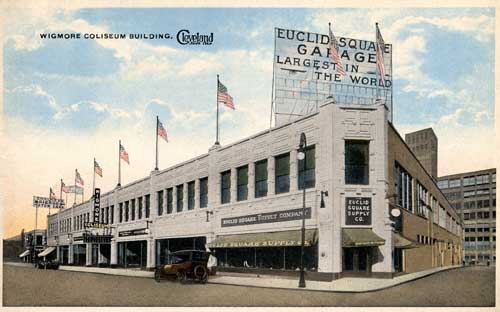 "The Euclid Square Garage proclaimed itself to be the ""Largest in the World"" on this 1920s postcard. Euclid Square Garage (Wigmore Coliseum Building), Cleveland, Ohio. Courtesy the Walter Leedy Postcard Collection, Special Collections, Cleveland State University Library."