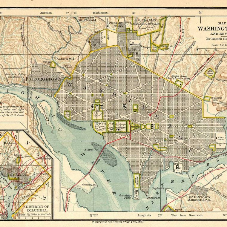 Map of Washington City and Environs, Russell Hinman, 1879 Van Antwerp, Bragg & Co.