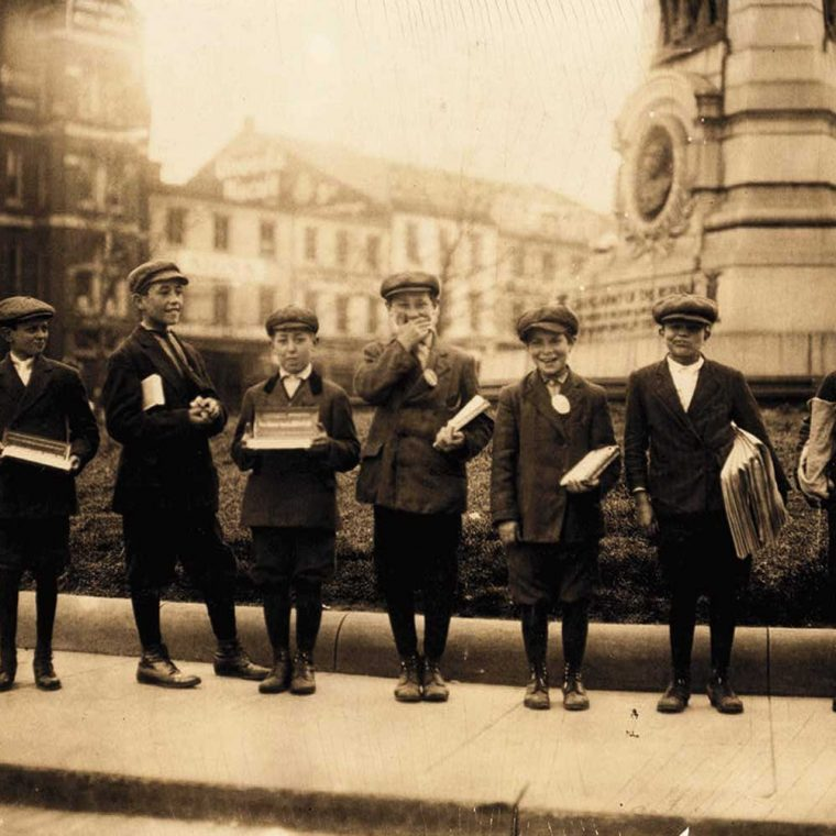 Gum vendors and news-boys, Pennsylvania Avenue and 7th Street, 1912. Photo by Lewis Wickes Hine, courtesy Library of Congress, Prints and Photographs Division.