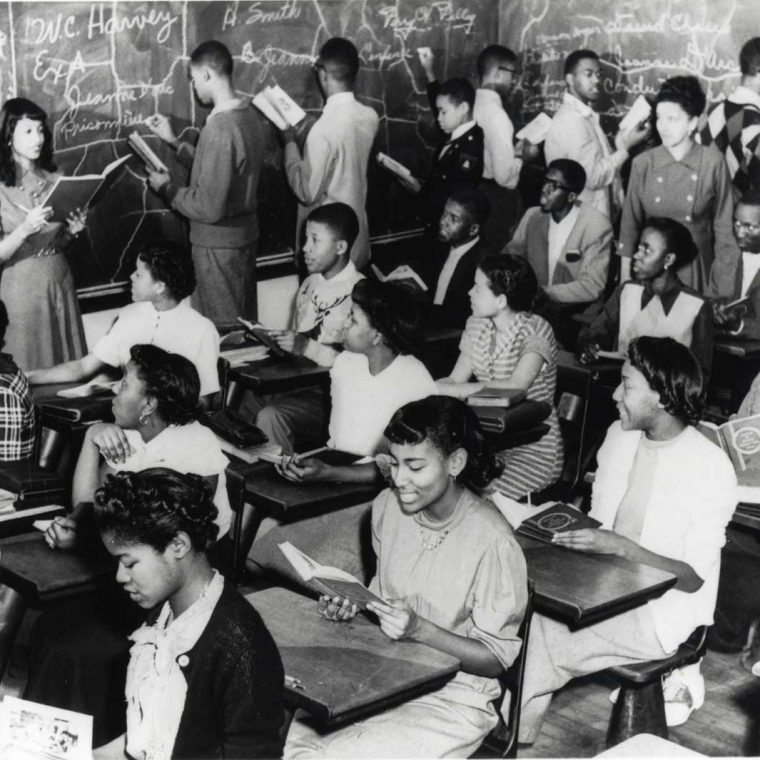 Practice teacher Gloria Delores Treadgill, in Mrs. Mary Hundley's French class, Dunbar High School, 1949. Courtesy Library of Congress, Prints and Photographs Division.