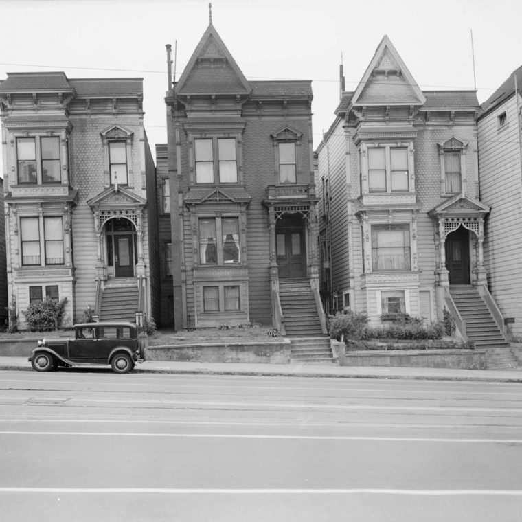 Van Ness Avenue Houses, San Francisco, California, 1940. Built: 1880s. Photo by A.J. Whittlock; Library of Congress, Historic American Buildings Survey.